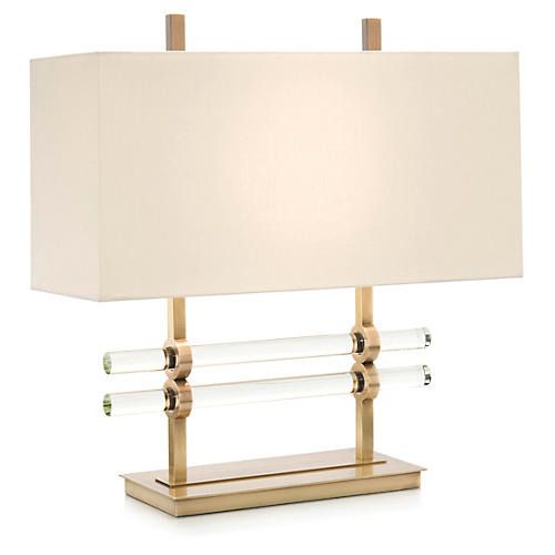 Glass Cylinder Table Lamp, Brass