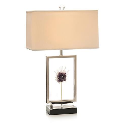 Crystal Window Table Lamp, Nickel