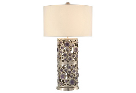 Glass Cabochon Table Lamp, Nickel
