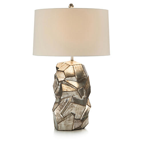 Sculptural Table Lamp, Antiqued Silver