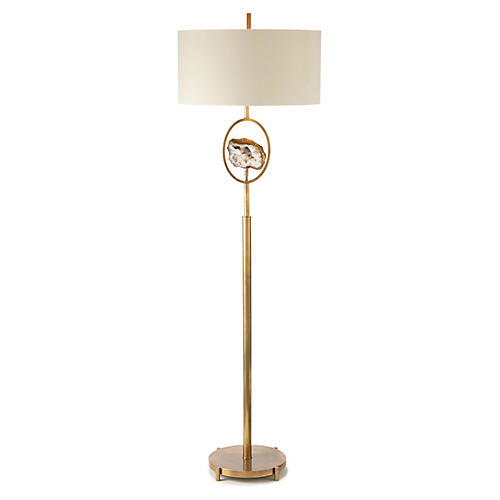 Crystal Geode Floor Lamp, Brass