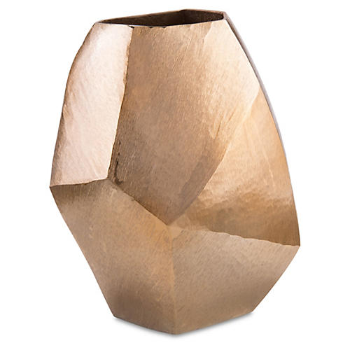 "13"" Angular Vase, Gold"
