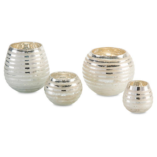 S/4 Ribbon-Etched Round Vases, Silver