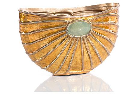 Scarab-Style Enameled Bowl, Caramel