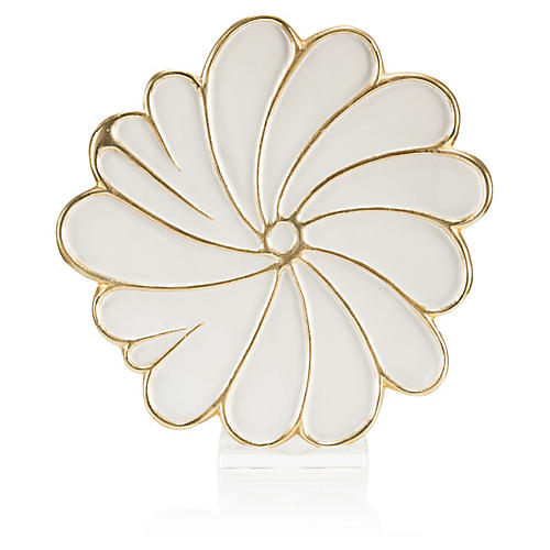 Swirling Petals Charger, White/Gold