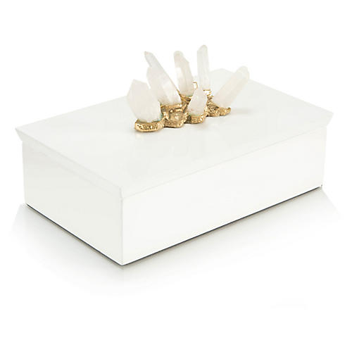 Box w/Crystal Adornments, White