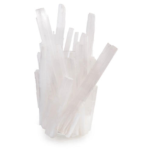 Selenite Satin Spar Vase, White