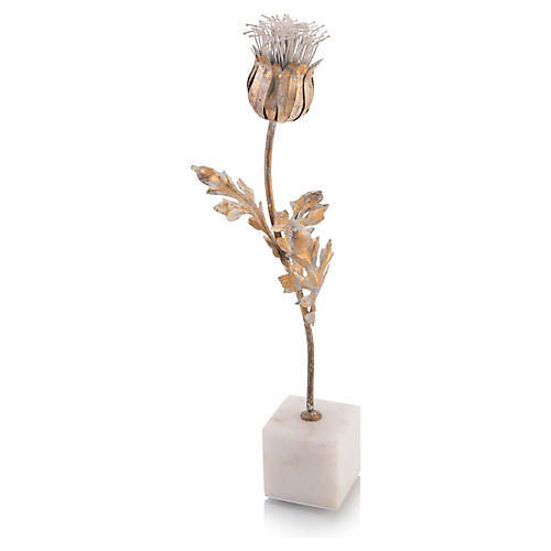 Thistle on Marble Base, Gold Leaf