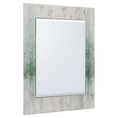 Mary Oversize Wall Mirror, White/Green