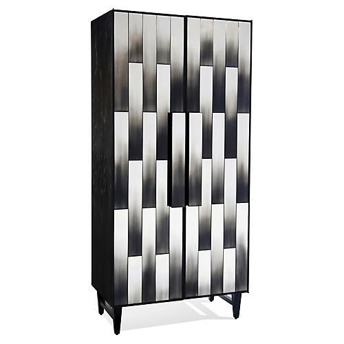 Strata Bar Cabinet, Black Oak