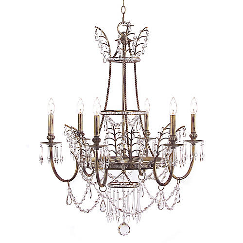 Versailles 6-Light Chandelier, Arrezzo Silver