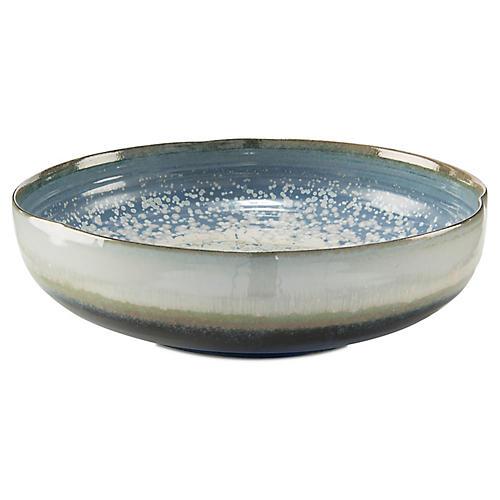 "16"" Garner Bowl, Blue/Cream"