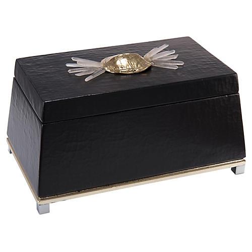 "14"" Nadir Quartz Box, Black/Brass"