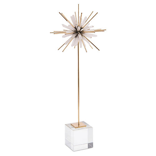 "19"" Wick Quartz Sculpture, White/Brass"