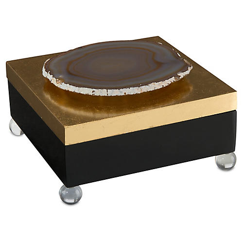 "8"" Fay Geode Box, Black/Gold"