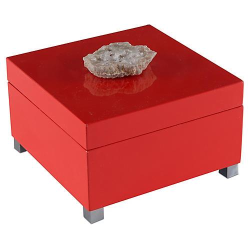 """8"""" Thalia Geode Box, Coral"""