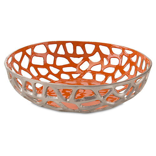 "18"" Conjar Bowl, Orange/Gray"