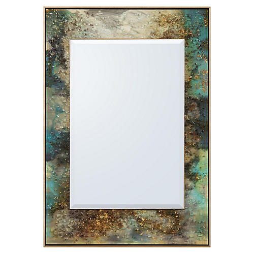 Galactic Oversize Wall Mirror, Gold Leaf/Multi