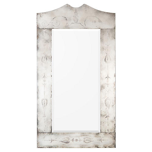 Marlow Floor Mirror, Antiqued Silver