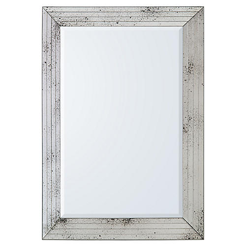 Porter Oversize Wall Mirror, Antiqued Silver
