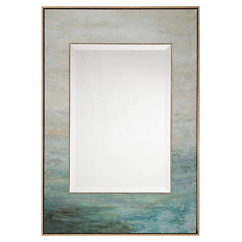 As the Water Flows Oversize Wall Mirror, Blue