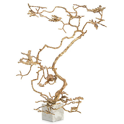 "41"" Bonsai Accent Piece, Warm Gold/White"