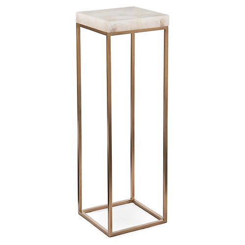 """36"""" Calcite Table Accent Piece, Brass/White"""