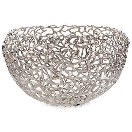 "17"" Entwined Decorative Bowl, Polished Nickel"
