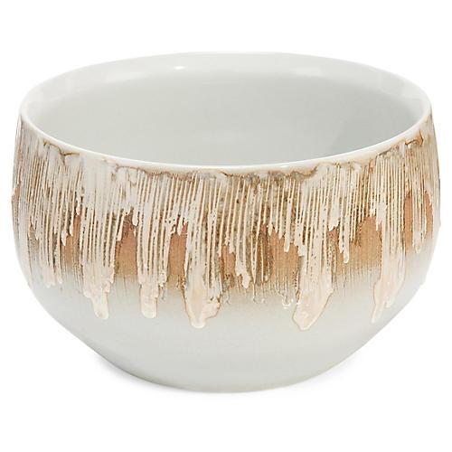"11"" Furrowed Decorative Bowl, Rich Brown/White"