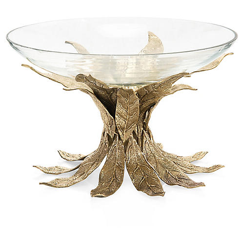 "16"" Sakura Leaf Decorative Bowl, Brass/Clear"