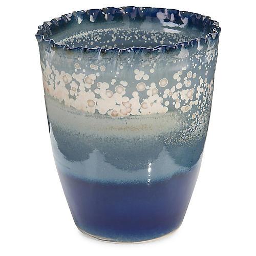 "12"" Sea & Surf Porcelain Vase, Blue/White"