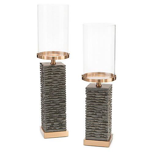 Asst. of 2 Stacked Pillar Holders, Gray/Bronze