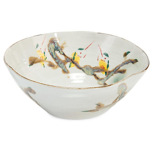 "11"" Twigs & Teal II Decorative Bowl, White/Multi"