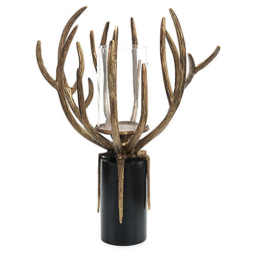 "24"" Organic Antler Pillar Holder, Brass/Black"