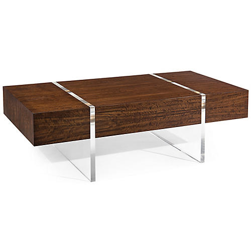Avest Coffee Table, Smoked Eucalyptus/Clear
