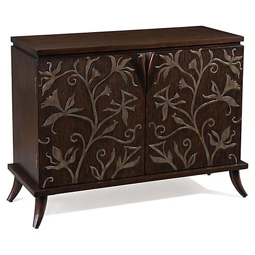 Harlow 2-Door Cabinet, Deep Oak/Silver