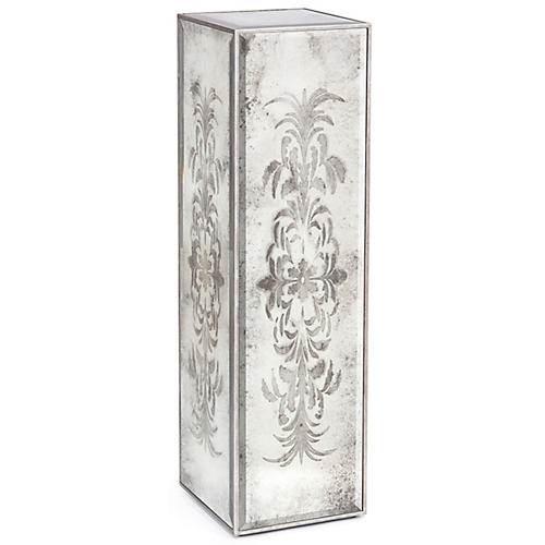 Etched Pedestal, Silver/Mirrored