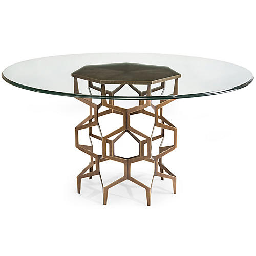 Hosi Dining Table Gold Clear