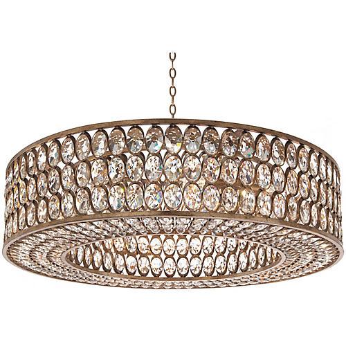 Stately 8-Light Pendant, Silver Leaf/Crystal