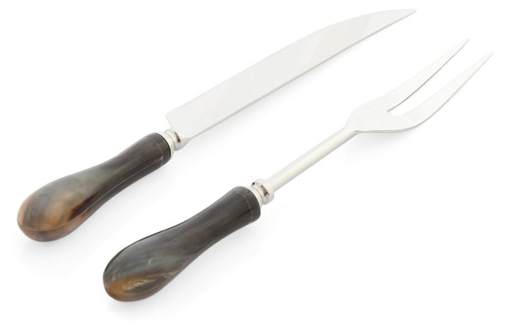 2-Pc Natural Horn Carving Set