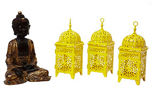 Buddha & Moroccan Lanterns, Set of 4