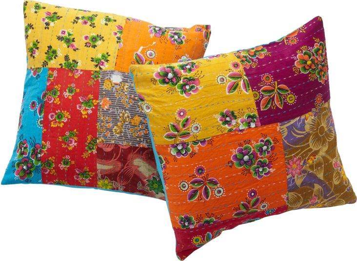 Indian Patchwork Pillows I, Set of 2