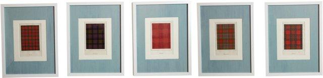 Framed Vintage Tartan Prints, Set of 5