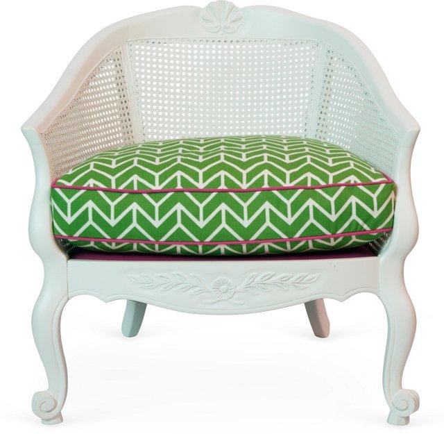 White Cane-Back Chair