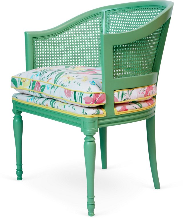 Green Cane Chair w/Floral Fabric