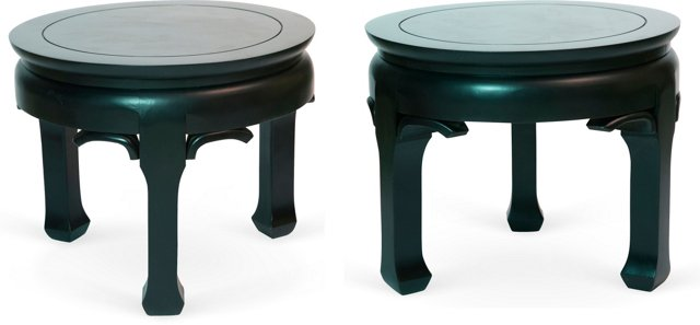 Low Black Asian Tables, Pair