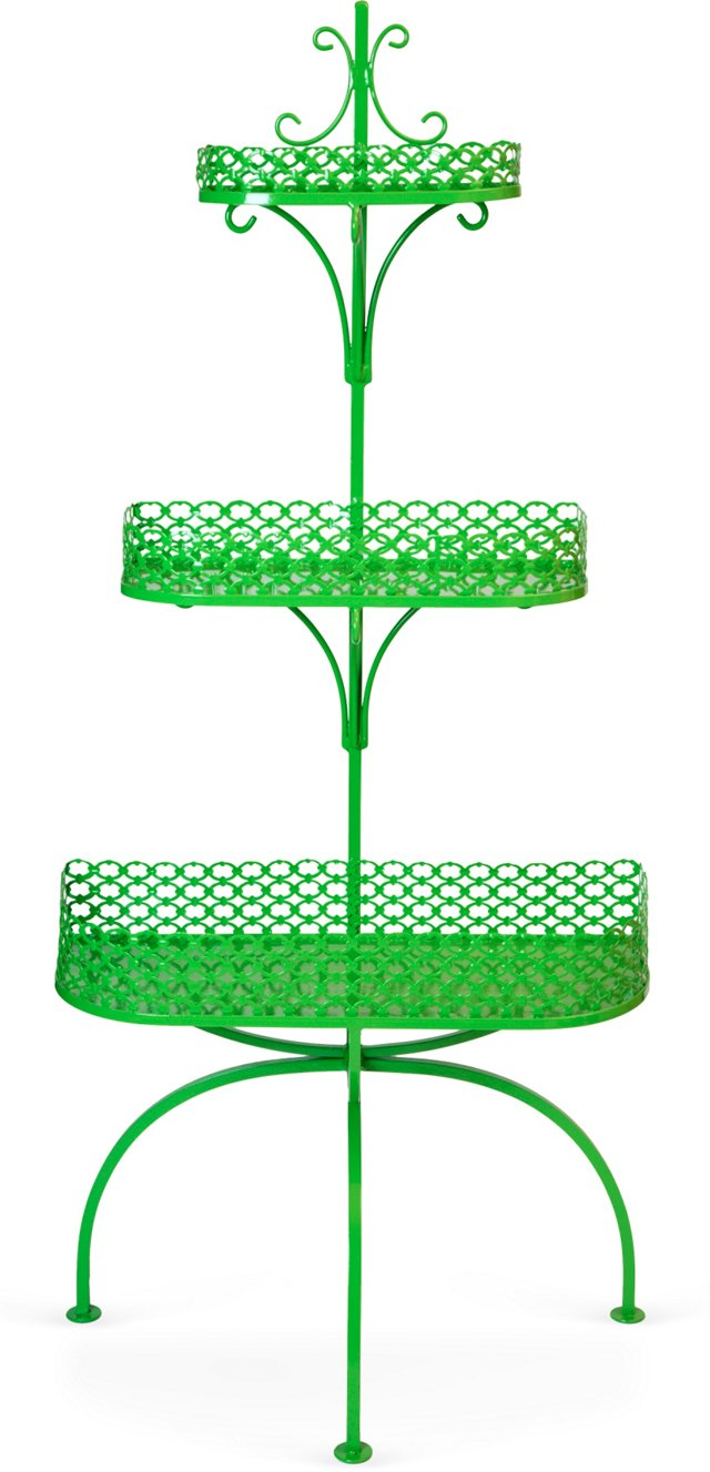Tall Green Powder-Coated Plant Stand