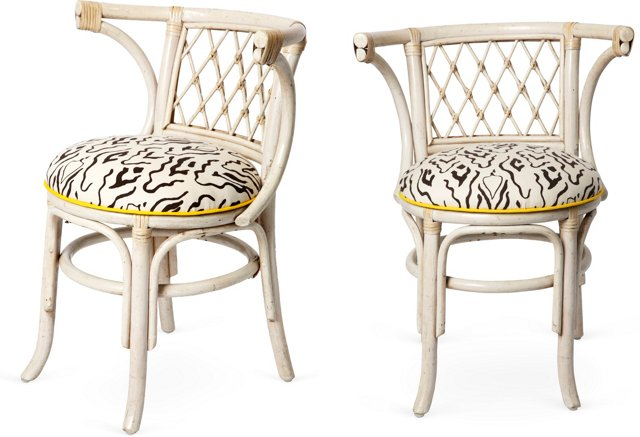 Jaunty Upholstered Café Chairs, Pair