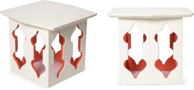White & Coral Side Tables, Pair