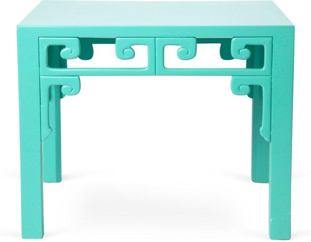 Vibrant Aqua Blue Side Table